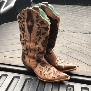 Corral tan and brown cowboy boots size 10.5